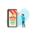 customer using smartphone for mobile shopping vector image
