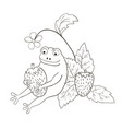 cute frog holds strawberries coloring page vector image vector image