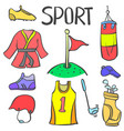doodle of sport equipment various style vector image vector image