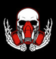 graffiti skull with gas mask hand drawingshirt vector image vector image