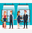 group of business people in the office vector image