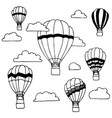hand drawn of hot air balloons and clouds on vector image vector image