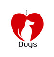 i love dogs icon vector image vector image