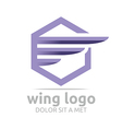 icon wing hexagon purple design symbol icon vector image