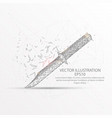 knife low poly wire frame on white background vector image vector image