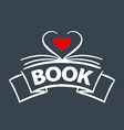 logo book in the form of heart vector image vector image
