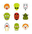 mask icon set flat style vector image vector image