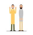 muslim praying two muslim arabic men in different vector image vector image