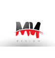 my m y brush logo letters with red and black vector image vector image