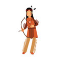 native american indian girl in traditional costume vector image vector image