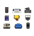 Photo studio icons set vector image vector image