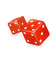 red dice 3d realistic casino gambling game deisgn vector image