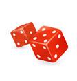 red dice 3d realistic casino gambling game design vector image