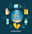 scuba diving round composition vector image
