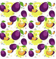 seamless pattern plum fruits summer ornament vector image vector image