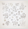 set of cute snowmen on striped vintage background vector image vector image
