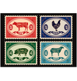 set of postage stamps with pets vector image vector image