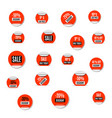 set of red paper stickers of discount and sale vector image vector image