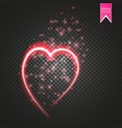 shiny heart-shaped frame on transparent background vector image