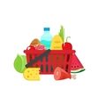 shopping basket with grocery products full vector image vector image
