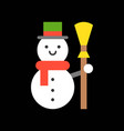 snowman and broom merry christmas icon set flat vector image vector image