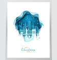 snowy new york city paper art greeting card vector image vector image