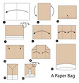 step instructions how to make origami a paper bag vector image vector image