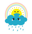 sun holding cloud rainbow set smiling and sad vector image vector image