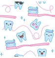 Teeth and toothbrush cartoon seamless vector image