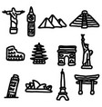 travel landmarks around the world icon set vector image vector image