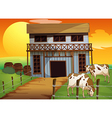 Two cows in the farm vector image vector image