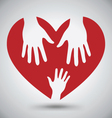 Two Helping Hands On Red Heart vector image