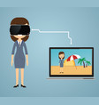 virtual reality concept in flat style vr gaming vector image vector image