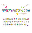 watercolour cartoon font creative artistic vector image vector image