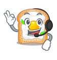 with headphone sandwich with egg isolated in vector image