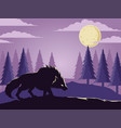 wolf under moon in wild forest vector image vector image