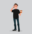 a man holding coffee and talking on phone vector image