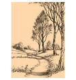 a path in the park sketch wallpaper vector image vector image