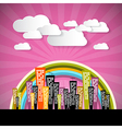 Abstract Retro Pink Background with Clouds and vector image vector image