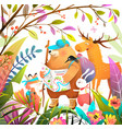 animals forest hiking adventure with treasure map vector image
