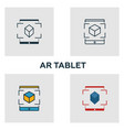 augmented reality tablet icon set four elements vector image vector image