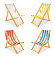 beach deck chair made of wood and fabric stock vector image vector image