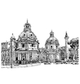 black and white digital drawing of Rome Italy vector image