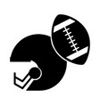 black icon football helmet and ball vector image vector image