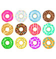 cartoon donuts sweet glaze and sprinkle donuts vector image vector image