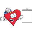 Cartoon heart holding a clip board vector image vector image