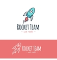 cartoon style rocket logo Hand drawn vector image vector image