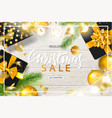 christmas sale poster with shiny gold christmas vector image vector image