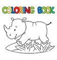 Coloring book of little rhino vector image vector image