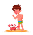 crab bit the finger of crying boy isolated vector image